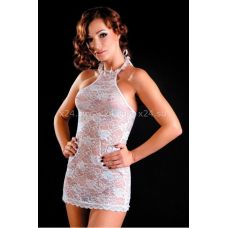 Белое кружевное мини-платье