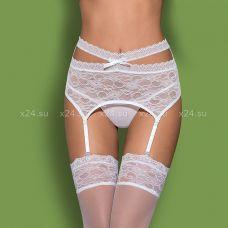 Белый кружевной пояс со стрингами Swanita Garter Belt SM